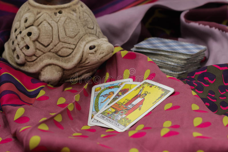Taro cards. Classic Tarot cards on a desk for telling the future stock images