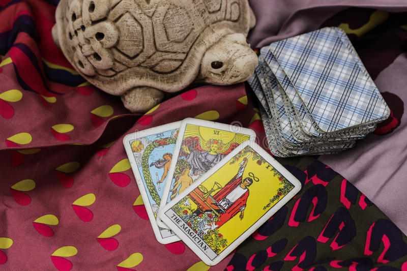 Taro cards. Classic Tarot cards on a desk for telling the future stock image