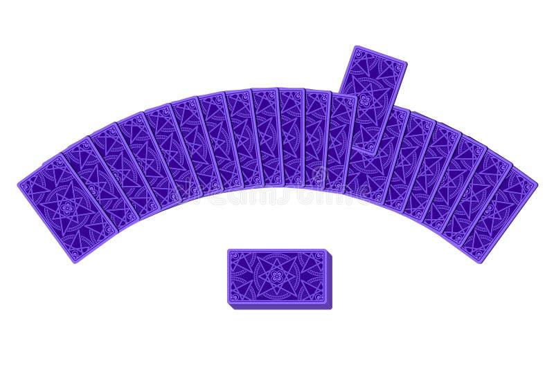 Tarockkarten durch die Rückseite, die in ein Halbrund legt stock abbildung