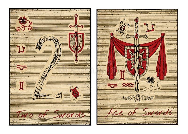 Tarokkorten i rött Ace av svärd royaltyfri illustrationer