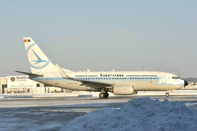 Tarom airplane on Bucharest airport stock photo