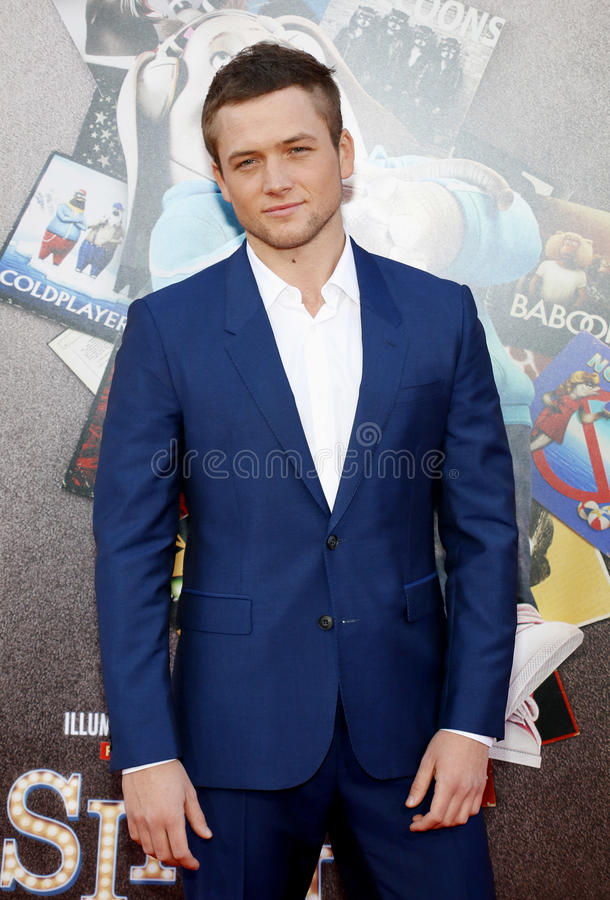 Taron Egerton. At the Los Angeles premiere of `Sing` held at the Microsoft Theater in Los Angeles, USA on December 3, 2016 royalty free stock images