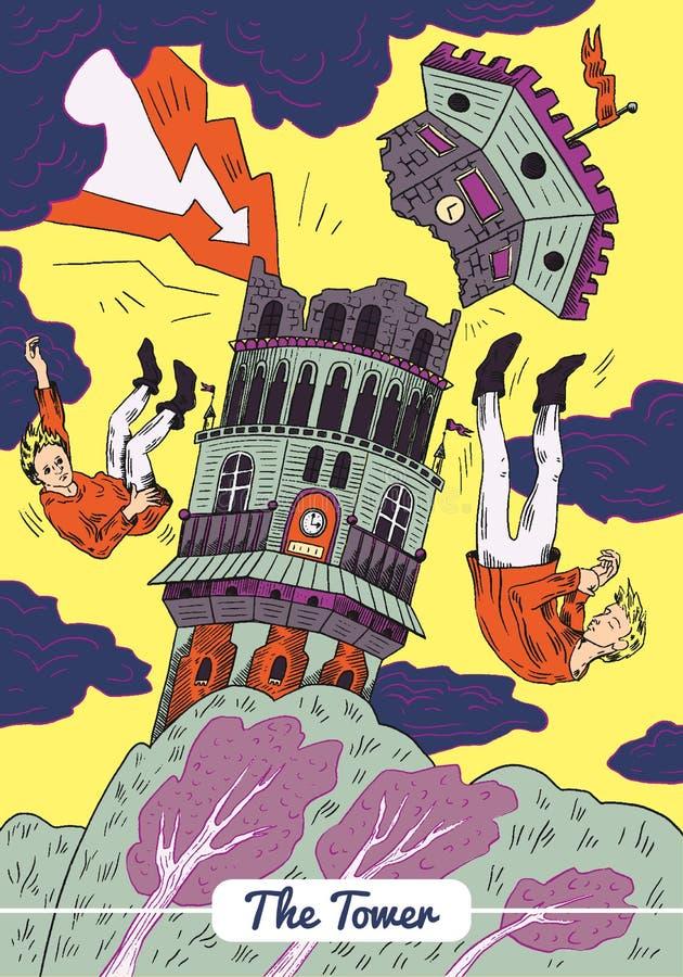 Tarot - карта башни бесплатная иллюстрация