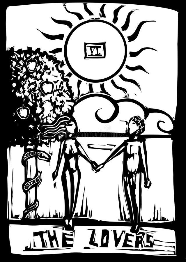 tarot любовников карточки иллюстрация штока
