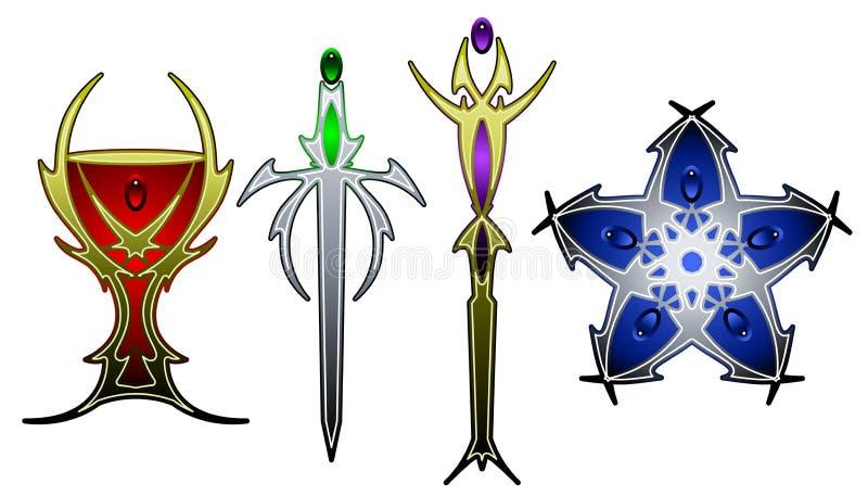 tarot символов цвета иллюстрация вектора