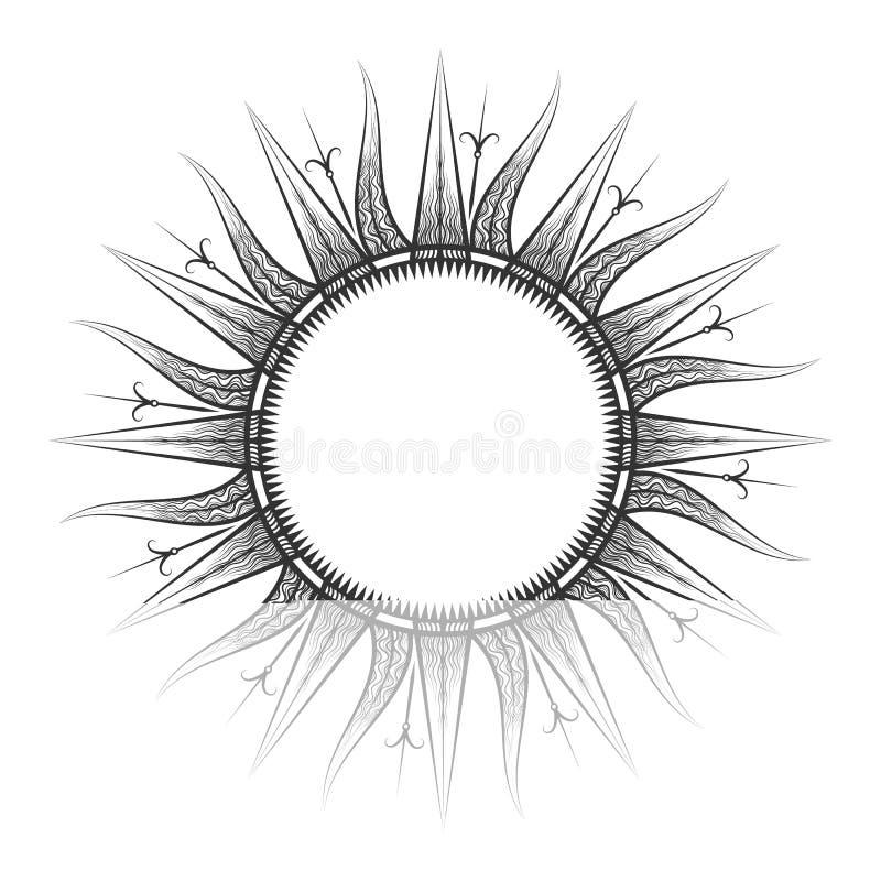 Tarot antiguo del sol, bosquejo astrológico del símbolo ilustración del vector