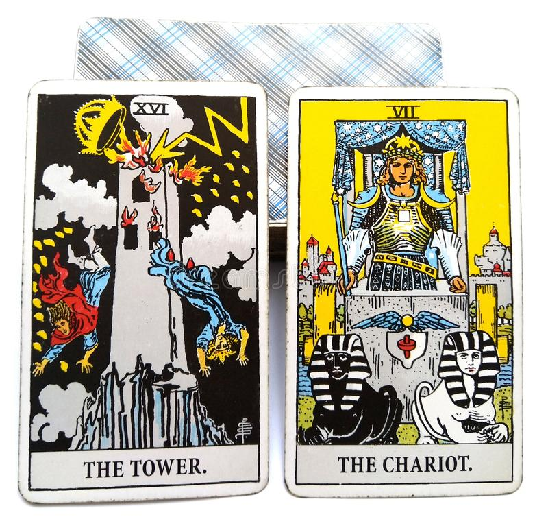 Tarot Birth Card Tower / Chariot stock illustration