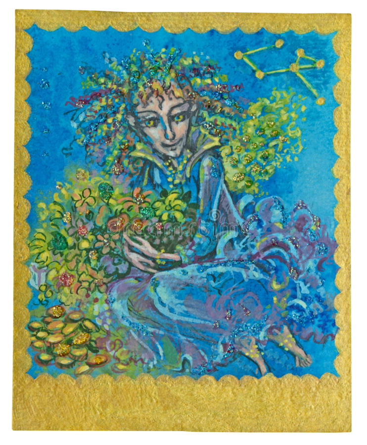 Tarot card - Abundance. Very positive tarot cards (the whole series has 16 pieces) created for the child audience. This card has a name: Abundance. / This is a royalty free stock photography