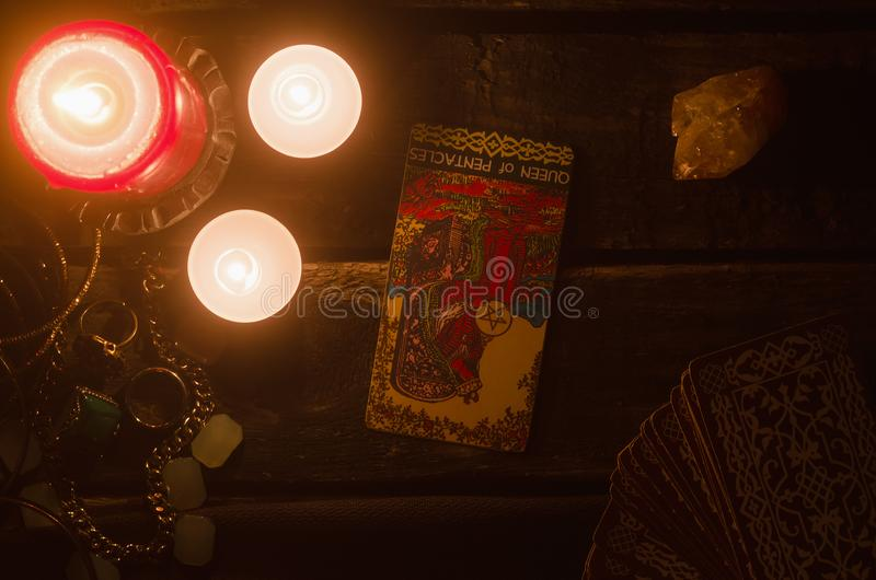Tarot card. Future reading. Divination. stock photo