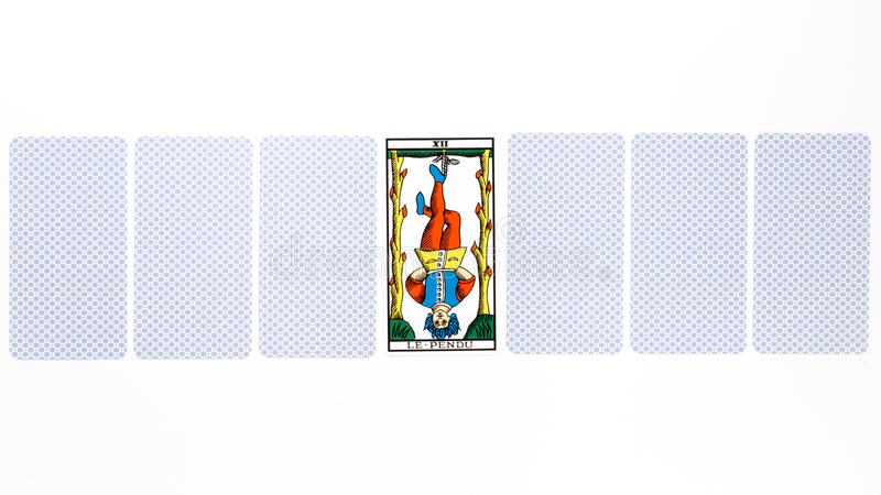 Tarot card hanged draw. Isolated on white background royalty free stock photos