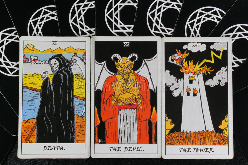 Download Tarot cards stock image. Image of unhappy, devil, white - 18837059