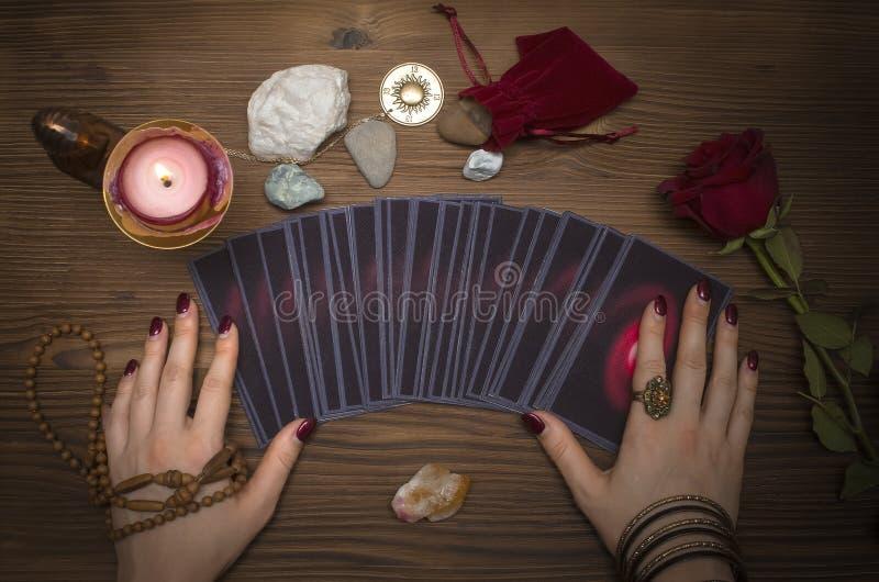 Tarot cards deck. Future reading. Fortune teller. The psychic. Tarot cards and future reading concept. Fortune teller desk table royalty free stock image