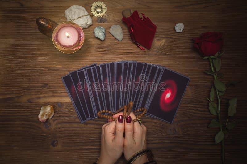 Tarot cards deck. Future reading. Fortune teller. The psychic. Tarot cards and future reading concept. Fortune teller desk table stock images