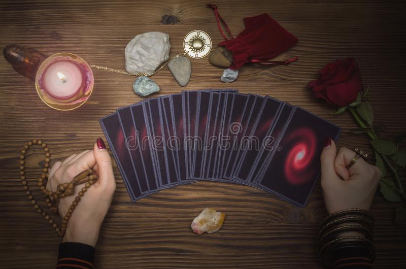 Tarot cards deck. Future reading. Fortune teller. The psychic. Tarot cards and future reading concept. Fortune teller desk table stock photography