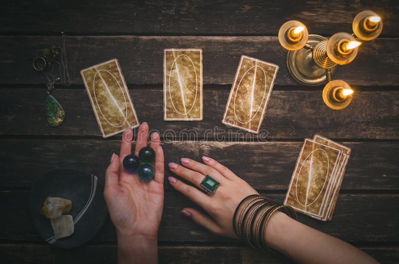 Tarot cards. Tarot cards on fortune teller desk table background. Futune reading concept. Divination royalty free stock photo