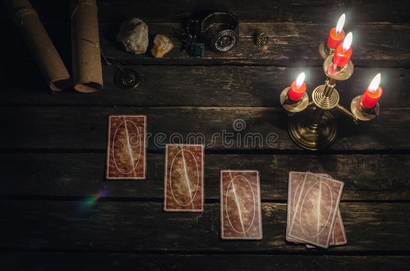 Tarot cards. Tarot cards on fortune teller desk table background. Futune reading concept royalty free stock image