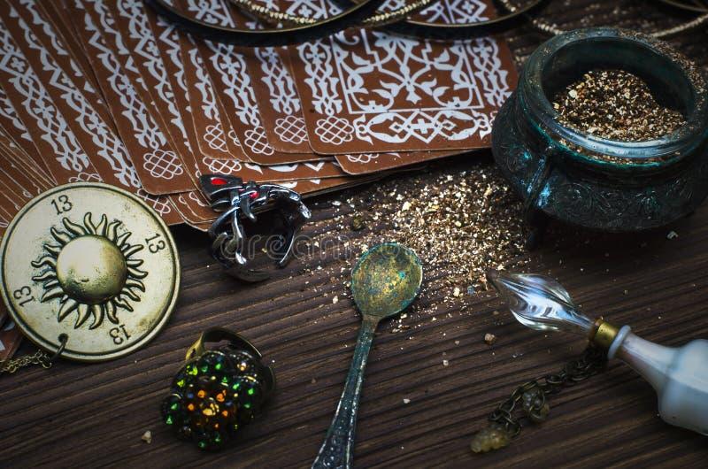 Tarot cards. Fortune teller. Divination. Tarot cards on fortune teller table. Divination. Witchcraft stock images