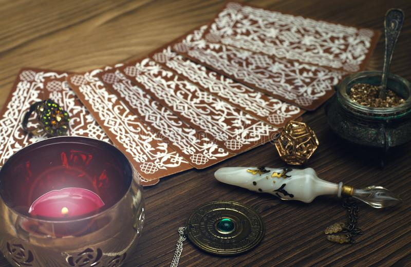 Tarot cards. Fortune teller. Divination. royalty free stock image