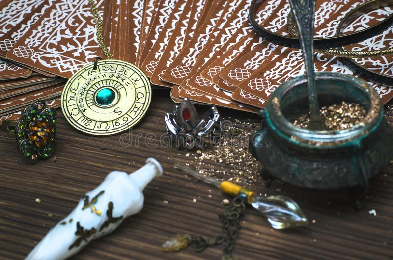 Tarot cards. Fortune teller. Divination. Tarot cards on fortune teller table. Divination. Witchcraft royalty free stock photography