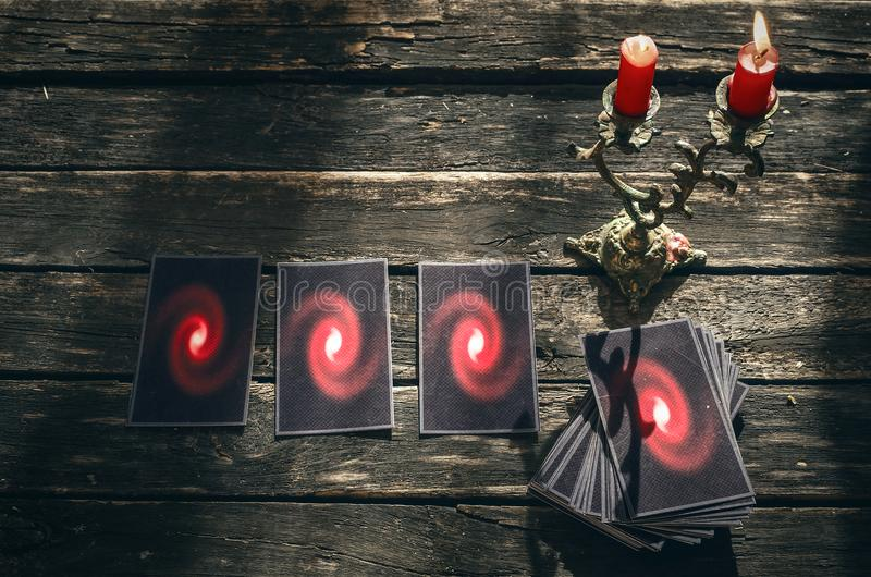 Tarot cards. Future reading concept. Divination. Tarot cards on fortune teller table. Future reading. Divination concept royalty free stock images
