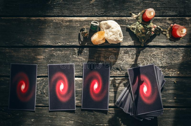 Tarot cards. Future reading concept. Divination. Tarot cards on fortune teller table. Future reading. Divination concept stock image