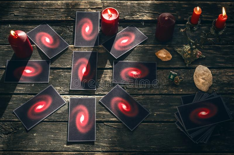 Tarot cards. Future reading concept. Divination. Tarot cards on fortune teller table. Future reading. Divination concept royalty free stock photos
