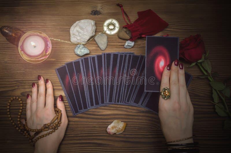 Tarot cards deck. Future reading. Fortune teller. The psychic. Tarot cards and future reading concept. Fortune teller desk table stock photos