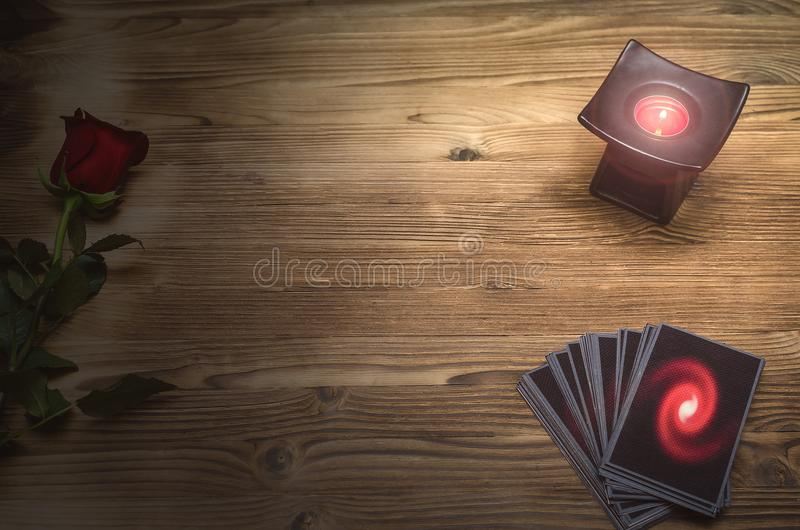 Tarot cards. Future reading. Fortune teller desk table. Romantic divination. Tarot cards deck on fortune teller table background with copy space. Future reading stock photos