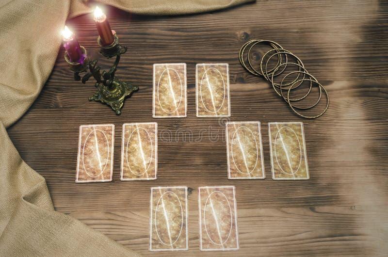 Tarot cards. Future reading. Fortune teller. Tarot cards on wooden table. Fortune teller. Future reading concept. Foreteller royalty free stock photo