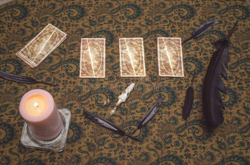 Tarot cards. Future reading. Fortune teller. Tarot cards on wooden table. Fortune teller. Future reading concept. Foreteller stock photography