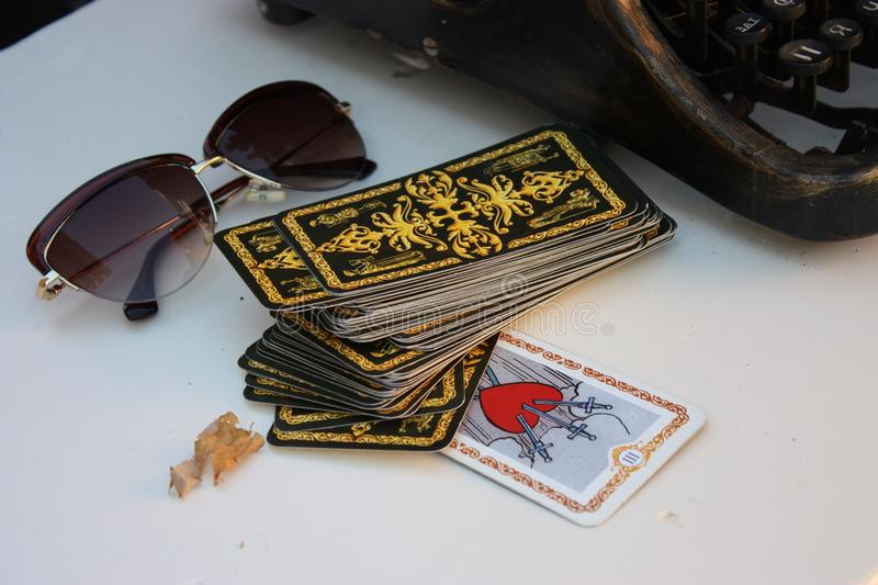 Tarot cards glasses landscape royalty free stock photo