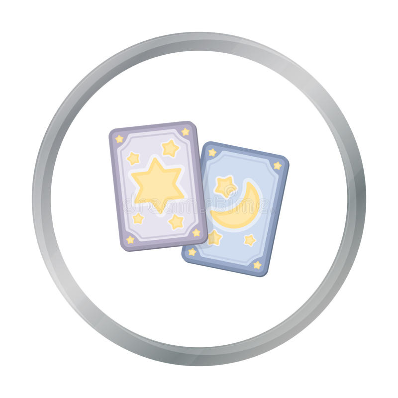 Tarot cards icon in cartoon style isolated on white background. Black and white magic symbol stock vector illustration. royalty free illustration