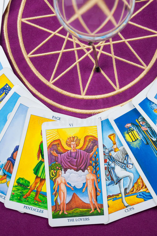 Tarot cards on a magical pentagram. royalty free stock photography