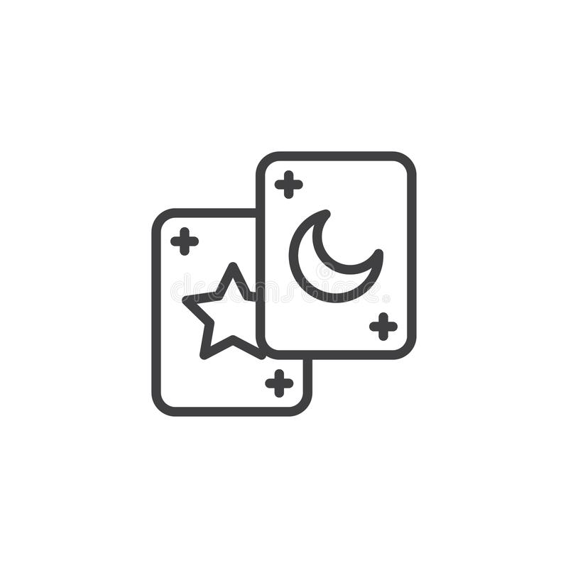 Tarot cards outline icon vector illustration