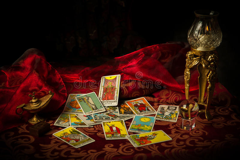 Tarot Cards Spread and scattered on Table Haphazardly stock image