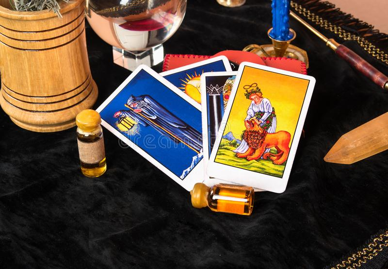 Tarot cards on table stock image