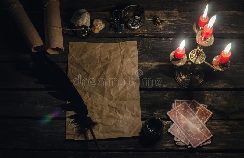 Tarot cards. Tarot cards on fortune teller desk table background. Futune reading concept. Study of Tarot magic manuscript paper page royalty free stock images