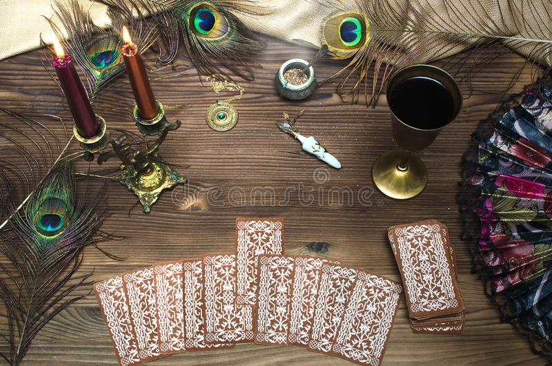 Tarot cards. Tarot cards on wooden table. Fortune teller stock images