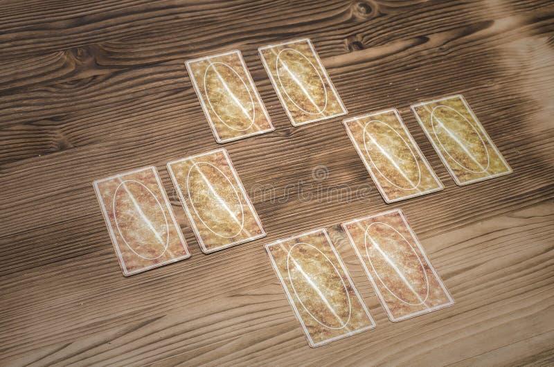 Tarot cards. Fortune-teller. Tarot cards on wooden table. Fortune teller. Future reading concept. Foreteller stock photo