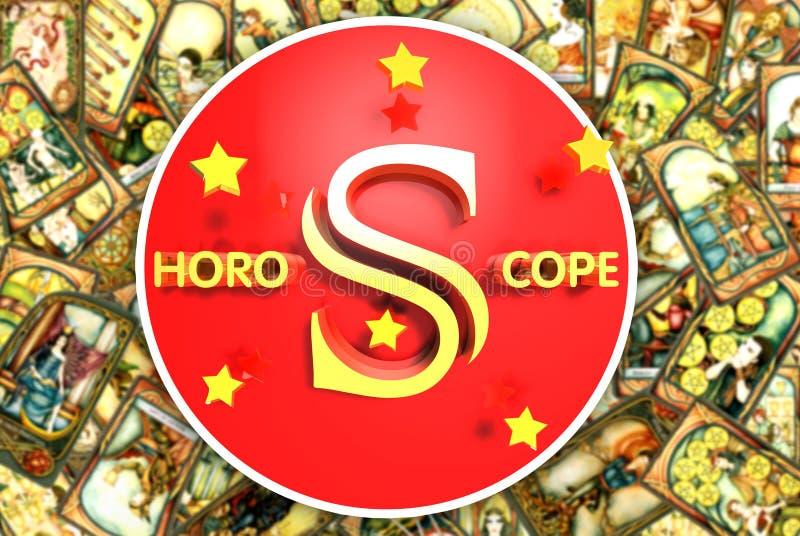 Tarot 3D, Gouden brief, Gipse-kaart, Horoscoop stock illustratie
