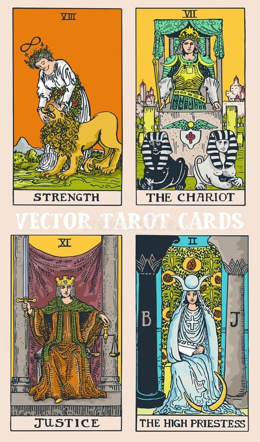 Tarot kart pokładu kolorowa ilustracja z magicznymi i tajemniczymi graficznymi szczegółami royalty ilustracja