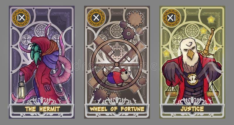 Tarot karty ilustraci set ilustracji