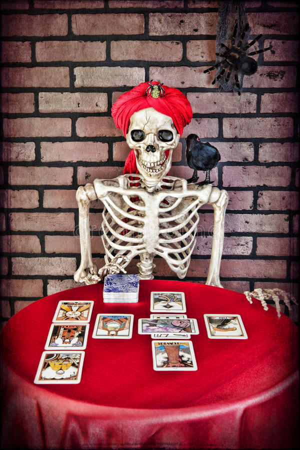 Tarot Reading Skeleton stock images
