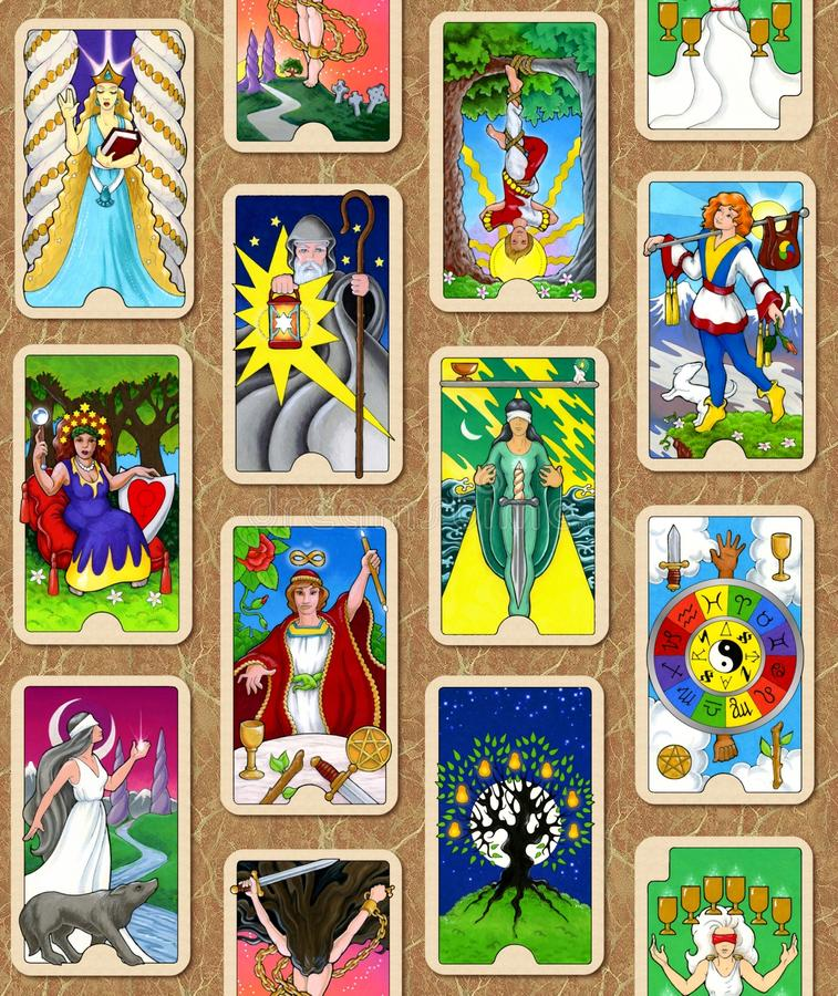 Tarot wallpaper. Seamless wallpaper design featuring my tarot cards, The Hallmark Tarot