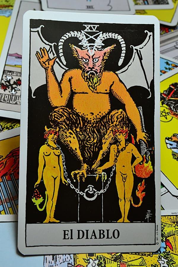 Tarotkaart - de Duivel Spaanse Gr Diablo stock afbeeldingen