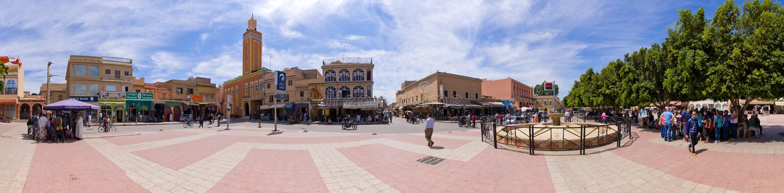 Taroudant in Morocco. Taroudant, Morocco - March 22, 2016: main square of the town. Berber town, located in the ?Sous Valley? in the southern part of Morocco stock photography