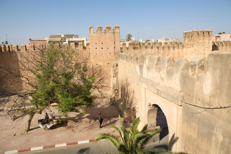 Taroudant's defensive wall gate stock images