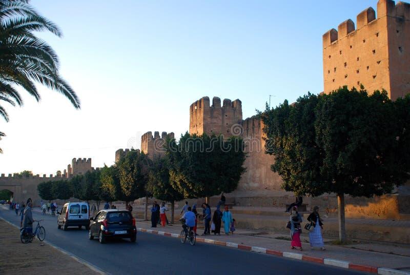 Taroudant's defensywy ściana Souss-Massa-Drâa Maroko obrazy stock