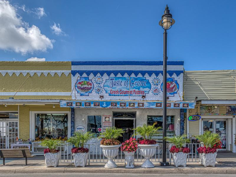 TARPON SPRINGS, FLORIDA - JUNE 30, 2019: Sponge capital of the world and historic Greek town on the Gulf of Mexico stock image