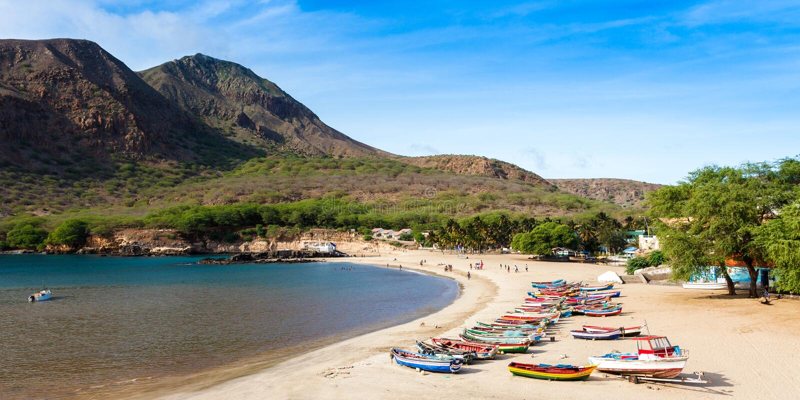 Tarrafal beach in Santiago island in Cape Verde - Cabo Verde. Tarrafal beach in Santiago island in Cape Verde Cabo Verde stock image